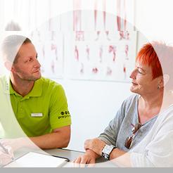 Individuelle Gesundheits-und Fitnessberatung bei Hüft-, Knie- und Fußbeschwerdenbei progesund in Jena